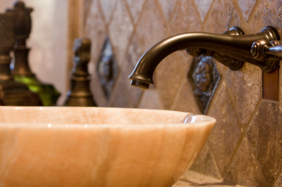 Marble sink and antiqued faucet